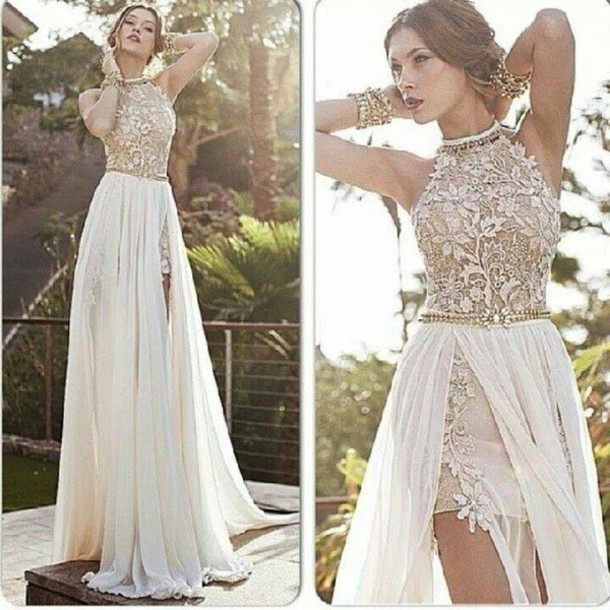 Best Selling Romantic High Neck Lace Beaded Chiffon High Low White ...