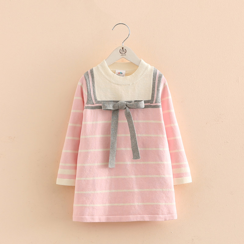 2018 Spring New Arrival Hot Sale Children Clothing Girls Long Sleeve Knitted Dress Baby Navy Strip Top Free Shipping hot sale girls long sleeve dress cute