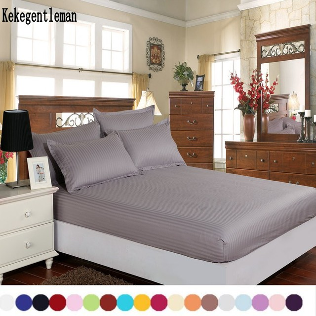 Home textile 100% cotton sheets stripe mattress cover bed sheet solid color fitted sheet bedspread twin full queen king 8 size