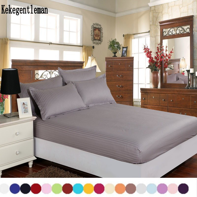 Home textile 100% cotton sheets stripe mattress cover <font><b>bed</b></font> sheet solid color fitted sheet bedspread twin full queen king 8 size