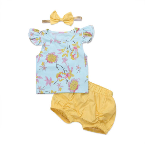 2018 Fashion Cute 3Pcs Newborn Toddler Kids Baby Girl Flowers Fly Sleeve Tops + Yellow Shorts+ Headband Outfits Clothes Summer