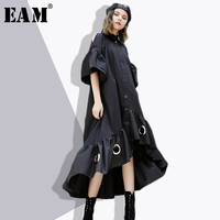 EAM 2018 New Spring Lapel Short Sleeve Off Shoulder Black Ruffles Hem Metal Ring Hollow