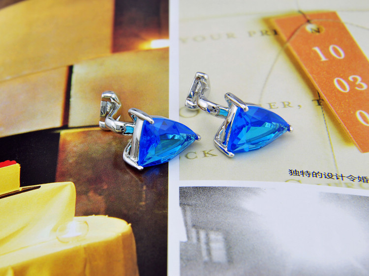SPARTA SKY BLUE AAA zircon cufflinks men's Cuff Links + Free Shipping !!!