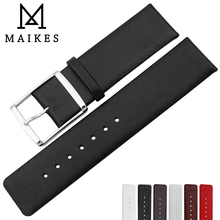 MAIKES Watch Accessories 16mm-22mm Genuine Leather band For Calvin Klein Strap Replacement Bracelet CK Watchband
