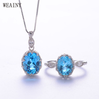 WEAINY Natural Blue Topaz Jewelry Set 925 Pure Silver Princess Crown Ring Necklace Suits Fine Wedding Jewelry for Women