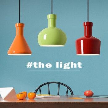 Nordic Macaron Design จี้โคมไฟสี Candy ร้านอาหารโคมไฟห้องนอนบาร์คาเฟ่โคมไฟจัดส่งฟรี