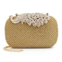 Luxury Rhinestone Silver&Gold Crystal Evening Clutch Bags Women Peacock Chain Purse Wedding Party bags Sinlge Should handbags