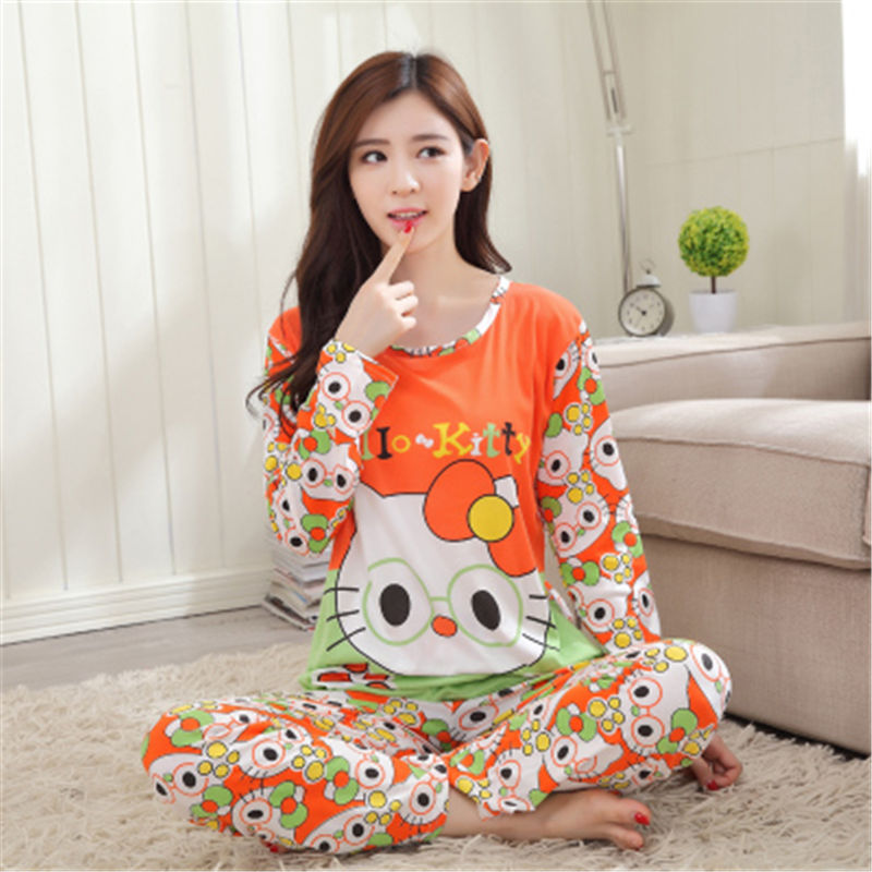 331d72b289 Hot sale New fashion lady sleepwear girls pajama sets with bows women long  sleeve cartoon pajamas female pijama free shipping