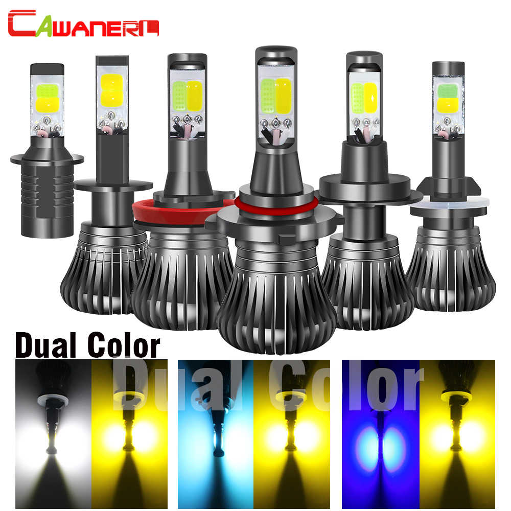 Cawanerl Car Fog Light Dual Color LED Bulb H1 H3 H7 H8 H11 9005 HB3 9006 HB4 880 881 Auto Fog Driving Lamp White Yellow Ice Blue