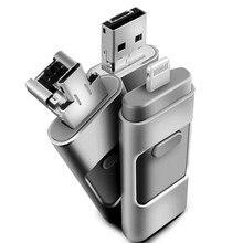 Nueva moda 3 en 1 OTG USB Flash Drive de 128 gb de memoria Mini Usb Pen Drive de Metal Para el iphone de Apple Android y windows PC Computer