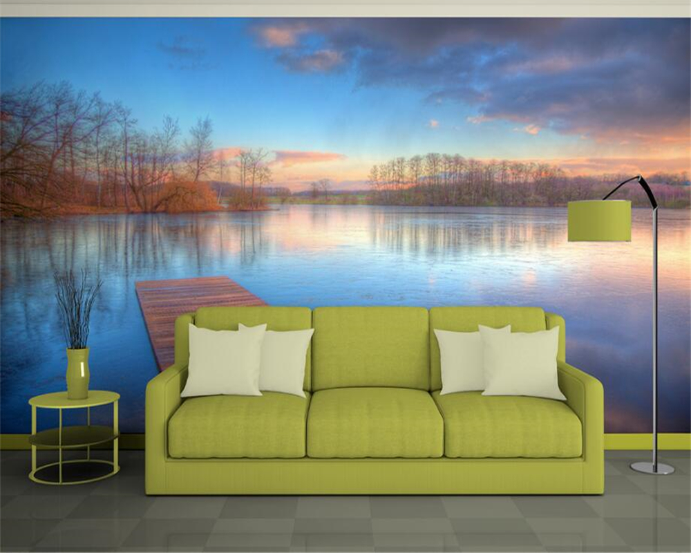 beibehang Custom 3D Lake scenery Wooden bridge Wall Mural Photo Wall Landscape 3D Room Wallpaper Living Room Home Decor beibehang wall panel wallpaper beibehang 3d balcony snowy lake landscape modern europe mural for large painting home decor