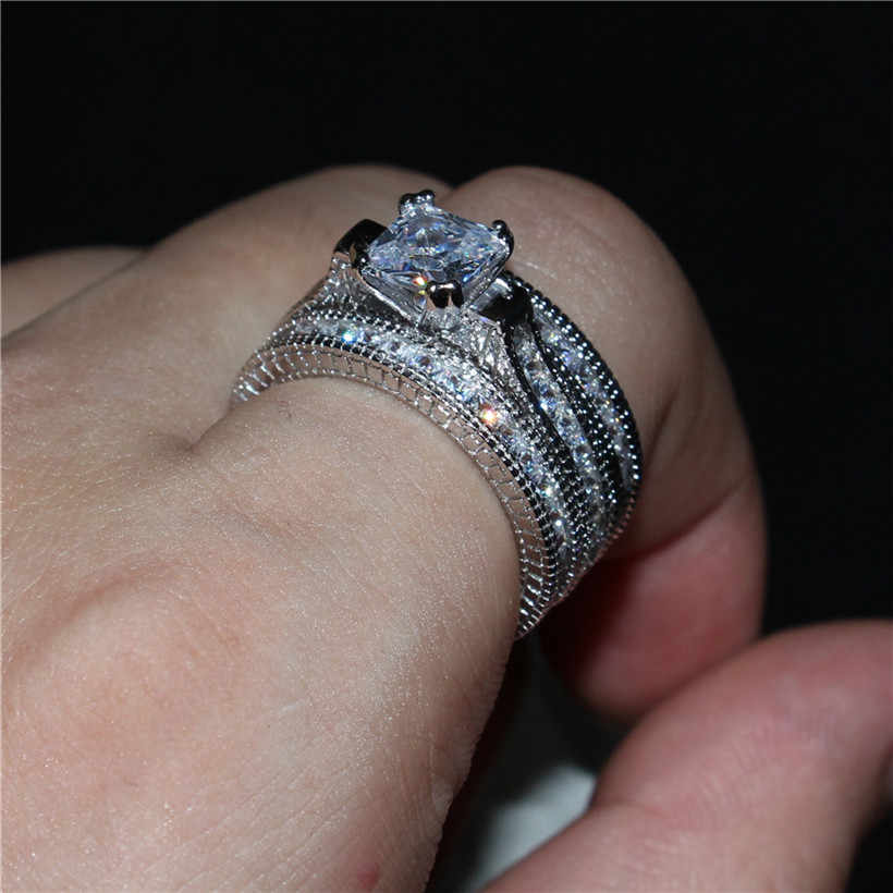 Luxury Princess Cut Simulated Diamond Rings Sets 3 In 1 Engagement Wedding Ring Finger For Women 14k White Gold Plated Jewelry