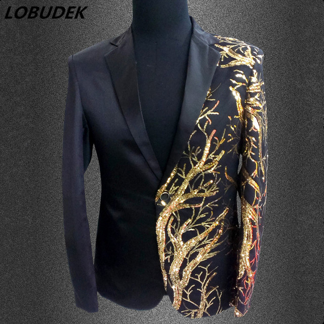 cb6c5535 Male Black Red Shining Sequins Formal Blazers Jacket Nightclub Men Singer  Chorus Host Stage Outfit Prom Party Wedding MC Costume