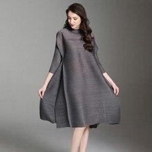 LANMREM 2020 de alta calidad, nueva moda, ropa plisada de cuello alto, dobladillo de ventilación, vestido holgado hasta la rodilla Vintage para mujeres EB015