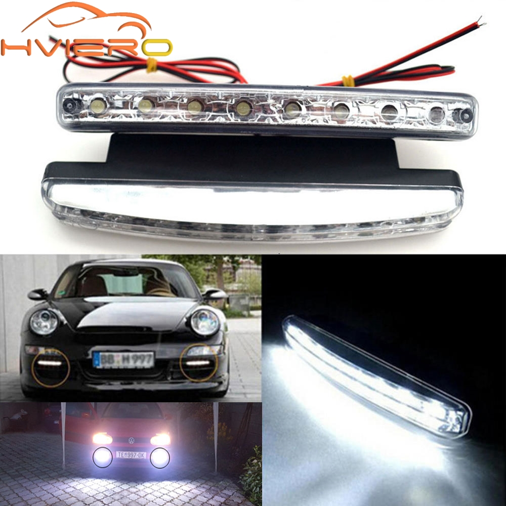 Auto Car DRL Daytime Running Light with Lens Waterproof 8LED White DC 12V 24V Head Lamp Parking Bulb Fog Lamp Waterproof Light new arrival 20w 2500lm epistar cob chip h1 led head lights bulb 12v 24v auto car daytime running light headlights 6000k white