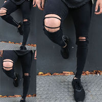HIRIGIN Men Black Ripped Distressed Pencil Jeans Distroyed Slim Fit Denim Hole Long Casual Suits USA