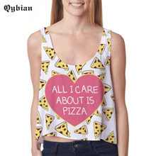 Qybian 2017 Summer Style Crop Tops Love pizza Print Harajuku Women Fashion Camis Sexy Casual short Vest for women