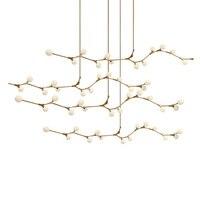 Nordic modern style glass ball bubble gold iron herringbone branch pendant light living room restaurant bar hanging lighting