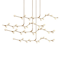 Nordic modern style glass ball bubble gold iron herringbone branch pendant light living room restaurant bar hanging lighting