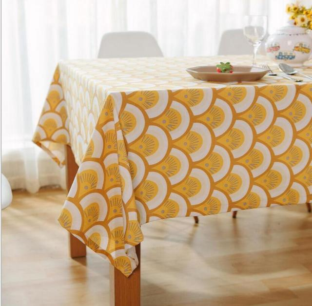 Countryside Square Tablecloths Linen Cotton Yellow Party Table Cover Modern Table  Cloth Taplak Meja