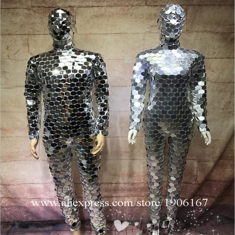 Ballroom dance men robot mirror suit women stage show costumes singer silver clothes models performance catwalk wears dj1