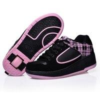 Girls&Boys Roller Skates Sneakers Kids LED Light Up With Single Wheel Luminous Skate Shoe Zapatillas Con Ruedas Black Chaussure