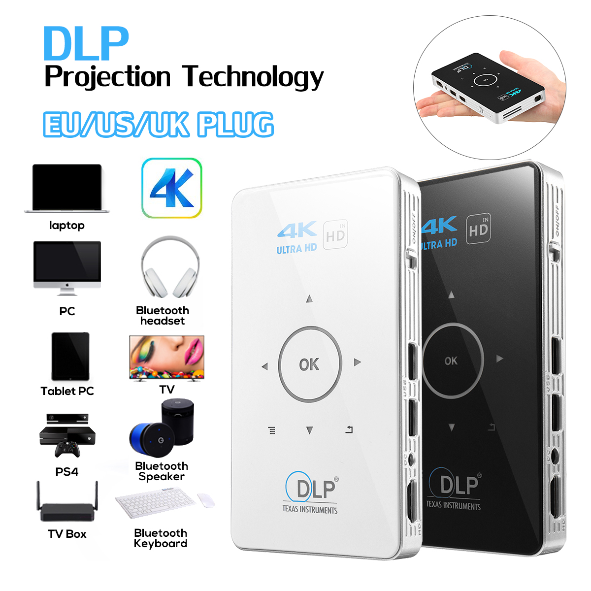 4K Full HD Smart DLP Mini Projector LED Android 5G WiFi 1080P Home Theater HDMI