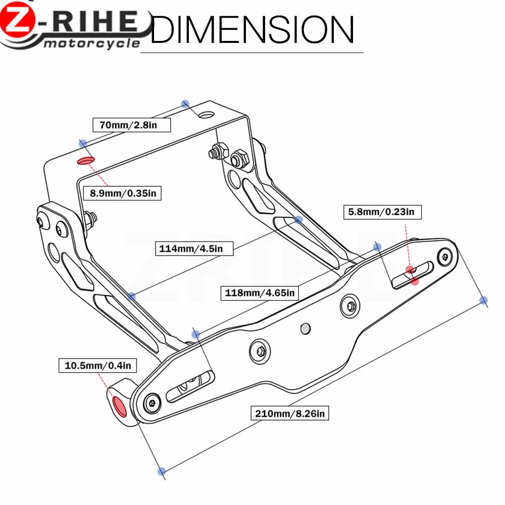 Fender Eliminator motorcycle License Plate Bracket Ho Tidy Tail Universal  For Kawasaki ZX7R ZX1100 ZRX1100 ZZR1200 ZG1000 For Ya-in Covers &  Ornamental ...