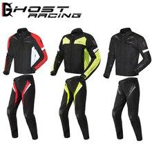 Ternos de CORRIDA FANTASMA Motocicleta Jaqueta de Motocross Jacket & Pants Moto Jaqueta Homens de Moto Roupas Armadura Equipamentos de Proteção Definido
