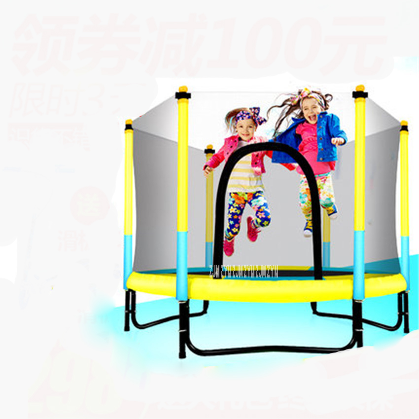 60 inch Round Kids Mini Trampoline Enclosure Net Pad Rebounder Outdoor Exercise Home Toys Jumping Bed Max Load 150KG PP,Alloy цена