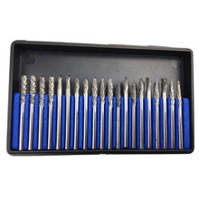 20pcs 3*3mm Carbide Burr Tungsten Carbide Rotary File Cutting Burs Tool Rotary Drill Die Grinder Bits