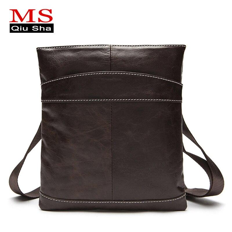 MS.QIUSHA Famous Brand Genuine Leather Bag For Men Messenger Crossbody Bag Men Leather Shoulder Bags Cross Body Bags Briefcase gusachi резинка для волос 2 шт заколка