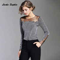 1pcs Ladies Plus Size Blouses Tops 2018 Summer New Bright Silk Mosaic Hollow Primer Shirt Women