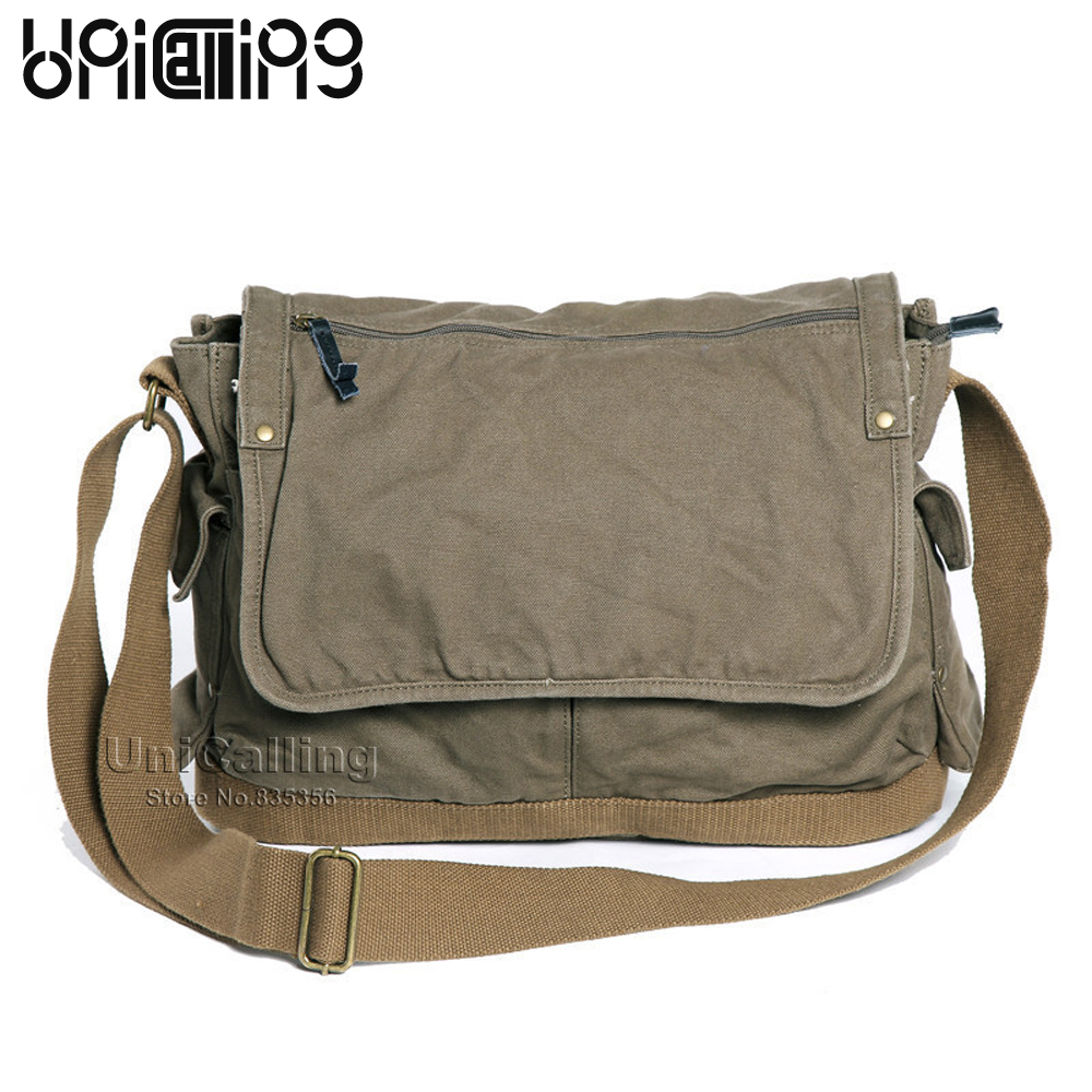 Vintage Schoudertas Heren : Unicalling casual cover canvas messenger bag vintage