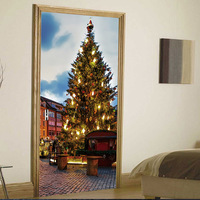 3D Christmas tree Door sticker creative door stickers Home decoration 3D wall stickers wholesale holiday creative sticker