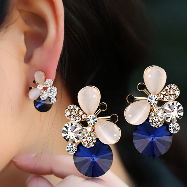 New Design Elegant sliver Plated blue Opal Crystal Earrings female Cute Rhinestone Butterfly Stud Earrings for women girl