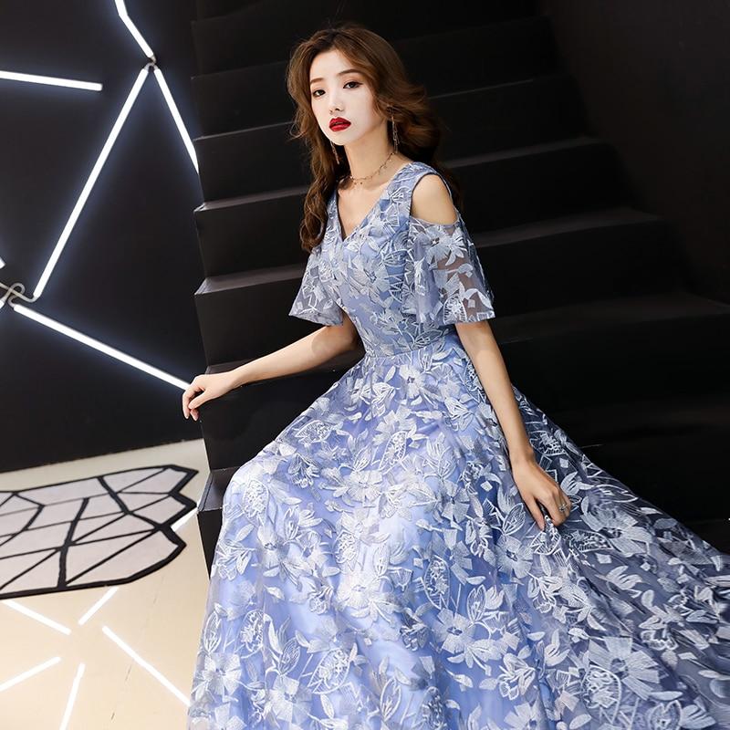 Demoiselle d'honneur robe de mariée fleur bleue robes longues femmes bal robes formelles robes de soirée grande taille col en v robe mince