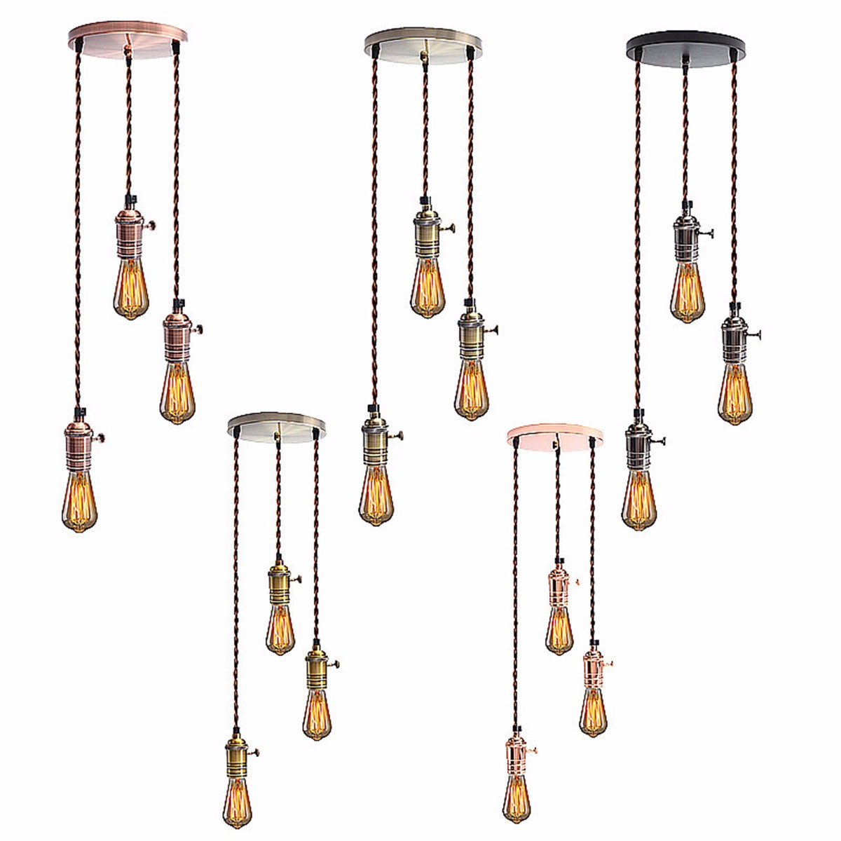 E27 Retro Vintage Industrial Loft Copper Pendant Ceiling Edison Light Lamp Base Holder Hanging Lampshade Socket With Switch rh loft vintage copper base edison led bulb iron shade ceiling hanging industrial pendant lamp light lighting e27 e26 110v 220v