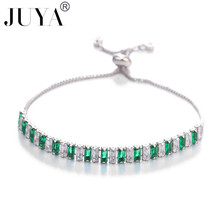 JUYA New 5 colors beautiful women bracelet colorful Austrian crystal fashion heart chain long jewelry wholesale