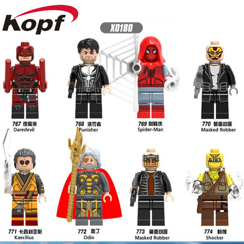 Single Sale Homecoming Daredevil Spider-Man Masked Robber Kaecilius Super Heroes Building Blocks Bricks Children Gift Toys X0180 single sale building blocks super heroes bob ross american painter the joy of painting bricks education toys children gift kf982