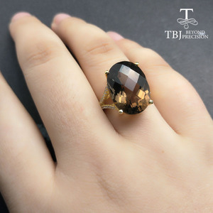 Image 5 - TBJ,Big 11ct smoky gemstone ring  in yellow gold color 925 sterling silver gemstone jewelry for girls with gift box