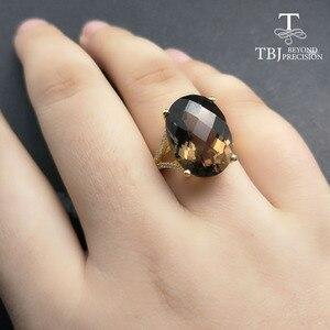 Image 5 - Tbj 、ビッグ 11ct スモーキー宝石リングイエローゴールド色 925 スターリングシルバー宝石用原石で女の子ギフトボックス