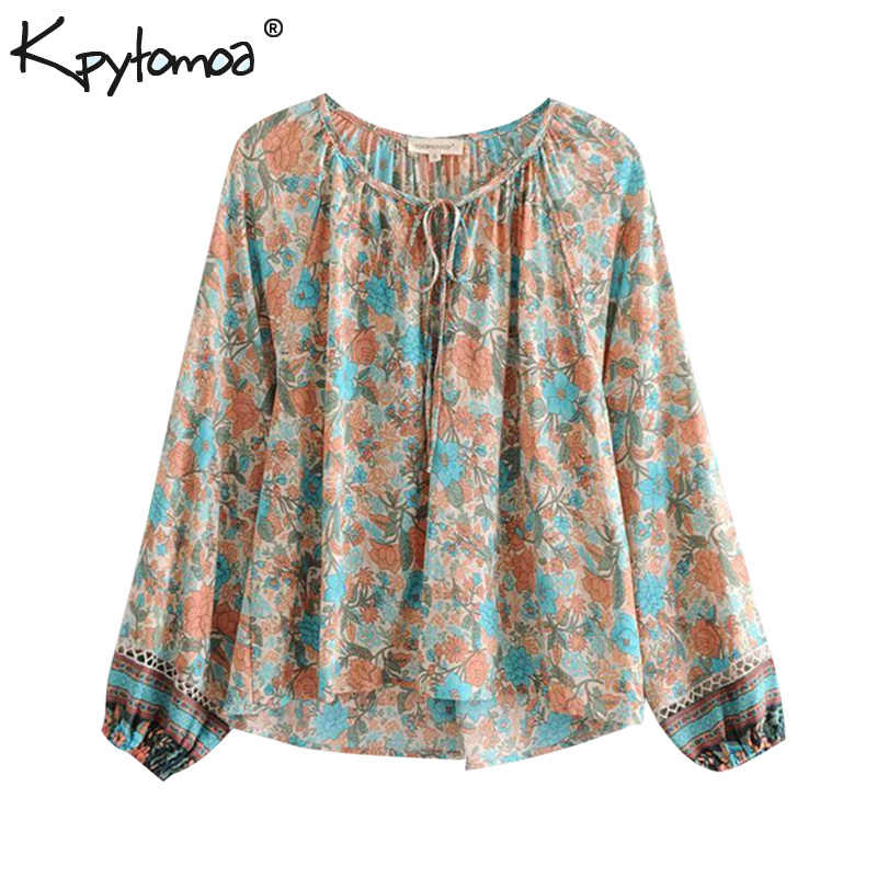 9a931216bcc Boho Chic Summer Tops Vintage Floral Print Patchwork Blouses Women 2019  Fashion Long Sleeve Bow Tie