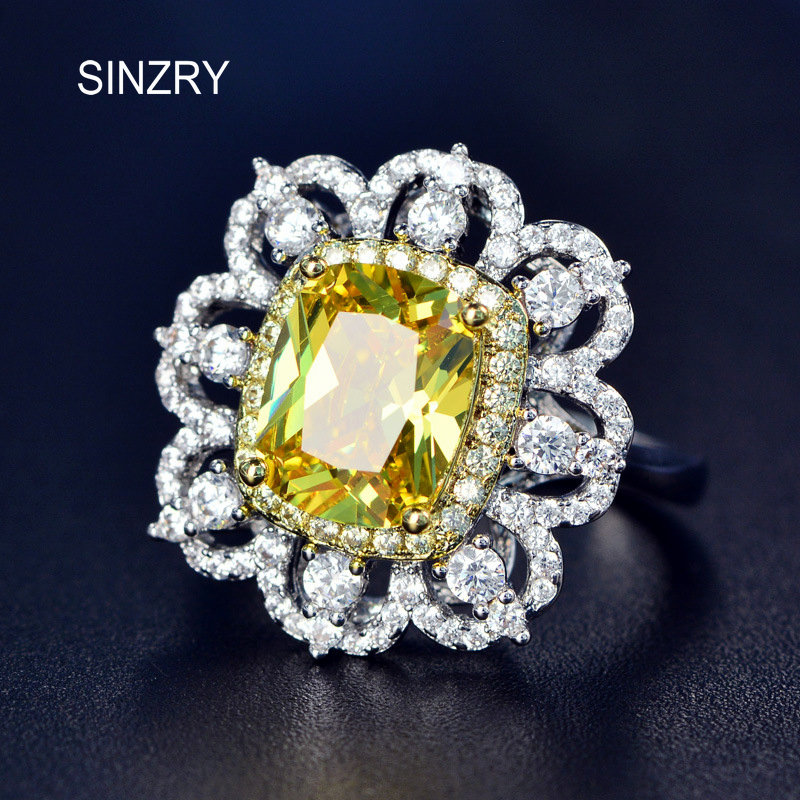 SINZRY Luxury Royal Aristocracy Super Flash Big Sunflower Cubic Zirconia rings exaggerated yellow crystal ring Jewelry for Women