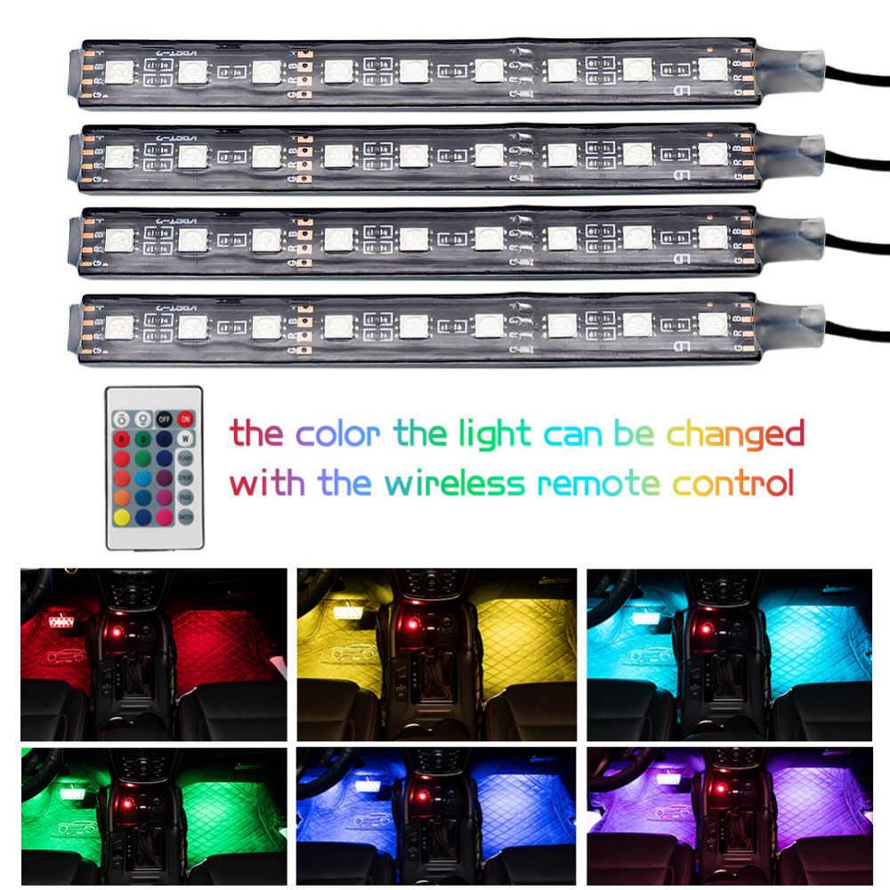 רכב RGB LED רצועת אור רכב סטיילינג דקורטיבי רכב אווירה מנורות רכב פנים אור אלחוטי מרחוק/שליטה קולית