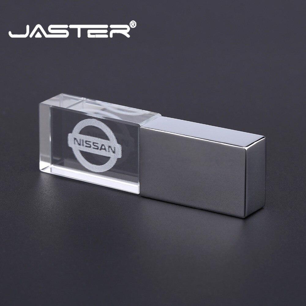 JASTER Nissan Crystal + Metal USB Flash Drive Pendrive 4GB 8GB 16GB 32GB 64GB 128GB External Storage Memory Stick U Disk