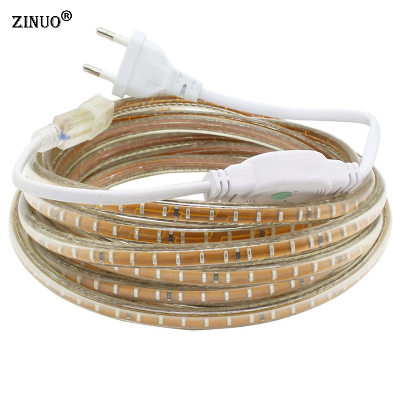 AC220V 3014SMD Led Strip Waterdicht Met EU Power Plug IP65 120Leds / M Flexibele LED Tape lint 1 M 2 M 3 M 5 M 10 M 15 M 20 M 30 M