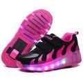 Super Star Niños Zapatos con Luces LED Niños Zapatos con Ruedas niños Zapatillas de Deporte con el Led Se Enciende para Los Niños Niñas de Color Rosa Roja