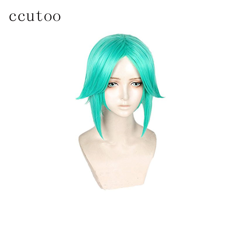 ccutoo 35cm Land of the Lustrous Houseki no Kuni Phosphophyllite green Mix Short Synthetic Hair Cosplay Full Wigs Hair