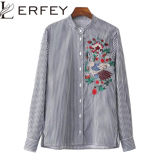 LERFEY Embroidery Blouse Shirt Floral Blue Striped Blouse OL Fashion Shirts Casual Tops Long Sleeve Blusas New Women Clothing